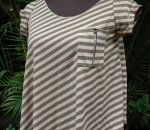 brown striped zippered cropped blouse